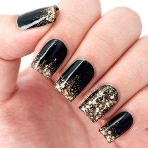 7b9333fe18e1684644b8d06aaa77e8f4 Black Nails With Glitter Black Nail Art