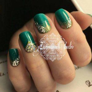 Green Nail Design With Rhinestones L