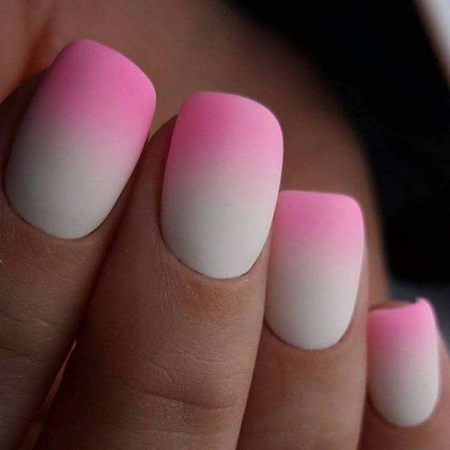 pink and white ombre nails - 640×640