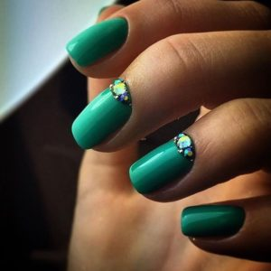 Green Nail Art Idea With Rhinestones Nail Design Xl