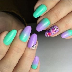 Turquoise And Lilac Manicure Nail Art Idea With Butterfly L